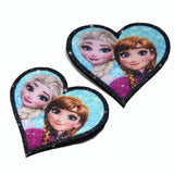 Frozen Anna And Elsa Disney, hair clips, real glitter and natural leather for girls