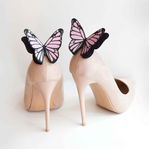 Pastel pink monarch butterfly shoe clips