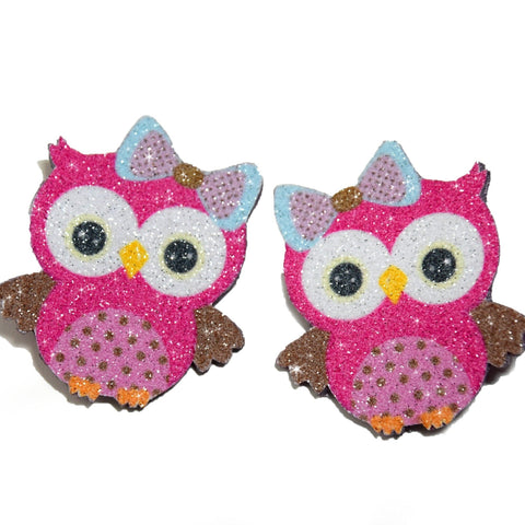 Owl hair clips, real glitter and natural leather for girls