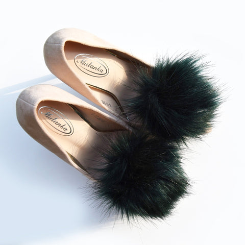 dark green emerald faux fur pompoms for shoe, shoe clips pompom
