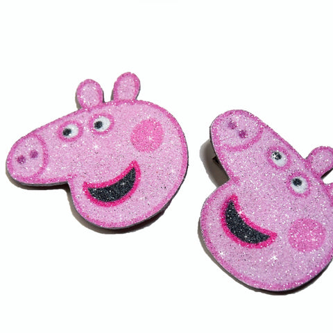 Peppa Pig, hair clips, real glitter and natural leather for girls