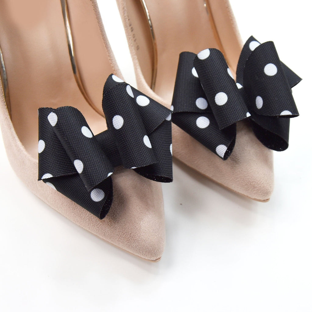Clip Per Scarpe Da Sposa.Polka Dots Bow Shoe Clips Wedding Shoe Real Glitter Shoe