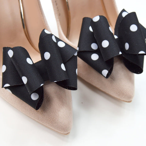 wedding shoe clips, polka dot bow