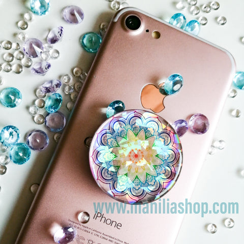 mandala rose gold Popsockets diamond holographic sticker