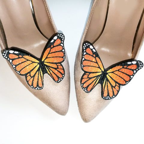 Monarch orange butterfly shoe clip