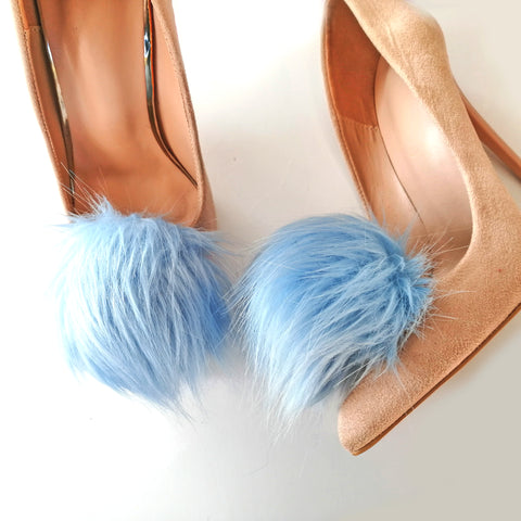 blue faux fur pompoms for shoe, shoe clips faux fur