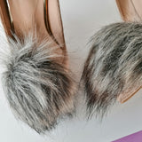 faux fur fox pompoms shoe clip