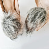 Silver fox faux fur pompom shoe clips