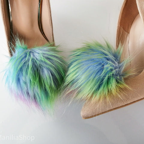 Rainbow faux fur pompoms shoe clips