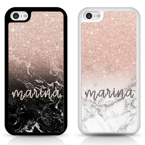 Phone case cover for iPhone Samsung - ombre personalised marble glitter print casing