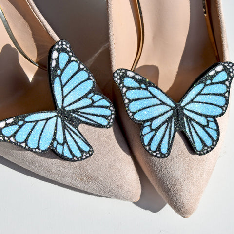 Blue Monarch butterfly wedding shoe clips