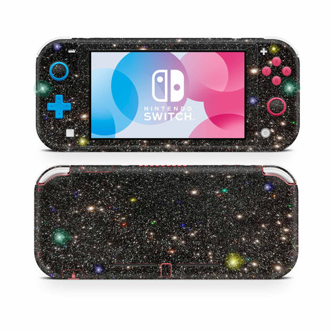 Holographic black glitter skin for nintendo switch lite