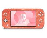 Coral pink glitter skin for Nintendo Switch Lite, animal crossing, mario bros, gaming