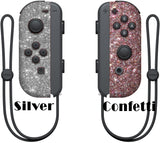 Glitter Skin for Nintendo switch Joy-Con, glitter skin wrap decal, animal crossing, Silver joy-con