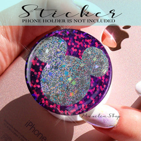 Purple glitter sticker for popsocket, disney mickey mouse glitter