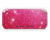 pink glitter wrap skin for nintendo switch lite