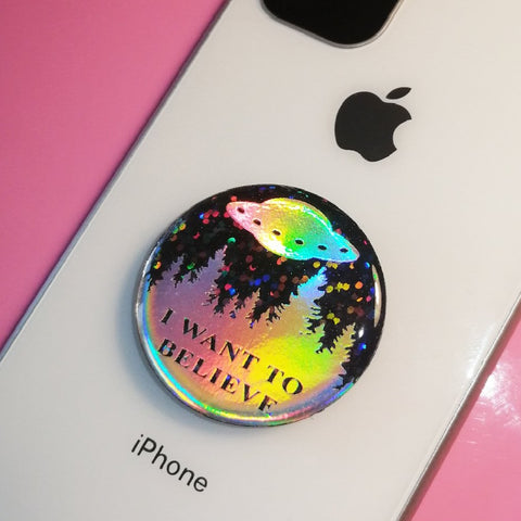 Opal STICKER for Popsockets I Want To Believe X-Files black glitter UFO Alien mermaid Pop Socket