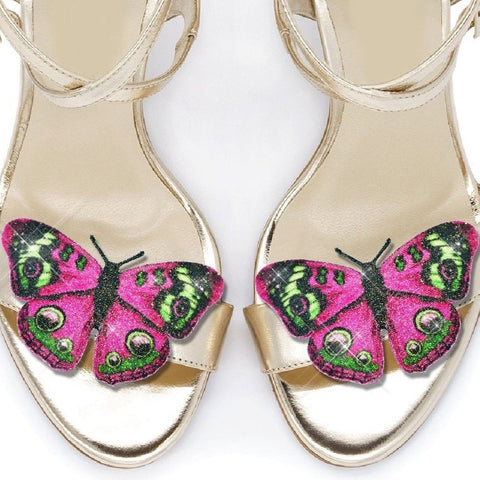 Pink Peacock Butterfly shoe clips, bridal shoe, bridesmaids shoe accessories