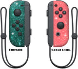 Glitter Skin for Nintendo switch Joy-Con, glitter skin wrap decal, animal crossing, coral pink, Emerald