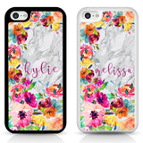 Marble Flower Personalised Phone Cases, Cover for iPhone and Samsung, Casing custom order