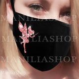 Rose Gold Glitter Face Mask, Glitter Tinkerbell, BLING, SPARKLE Washable Cotton, Protection Mask