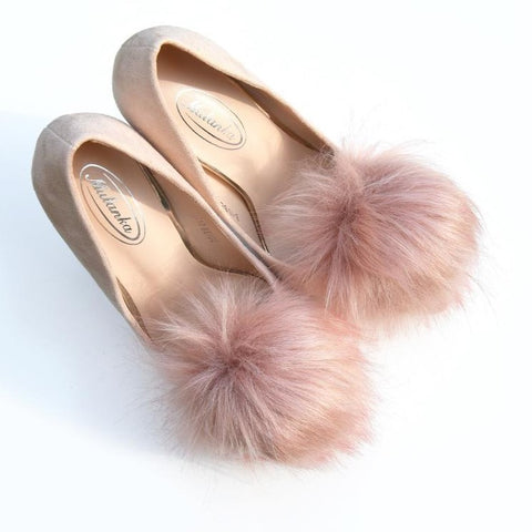 Rose gold pompoms shoe clips, faux fur pompom
