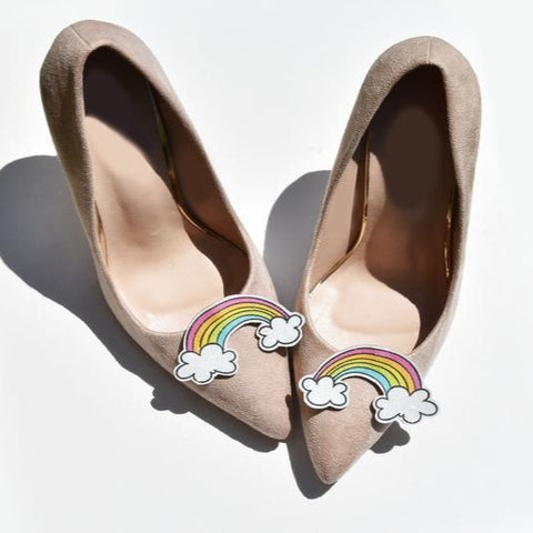Shoe clips rainbow cloud