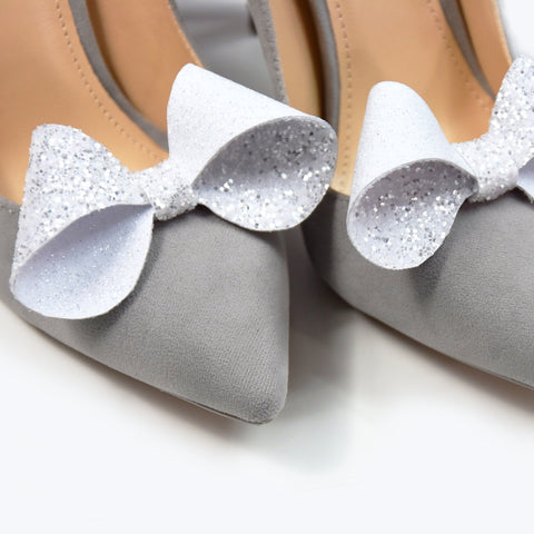 Bow- shoe clips, sparkly glitter, shoe accessories, wedding shoe, wedding shoe clips