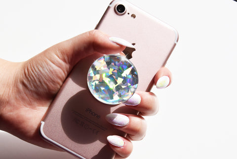Iridescent Silver diamond Sparkle Gamestone 3D decal stickerfor popsockets, phone holder, tablet, iPad holder