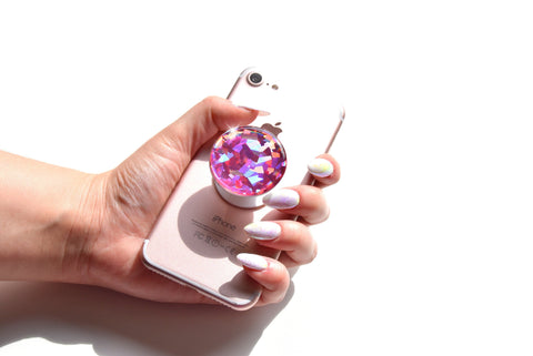 Holographic Pink, crystal, gemstone, iridescent, sparkle decal/sticker for popsockets, for selfie holder, for phone grip