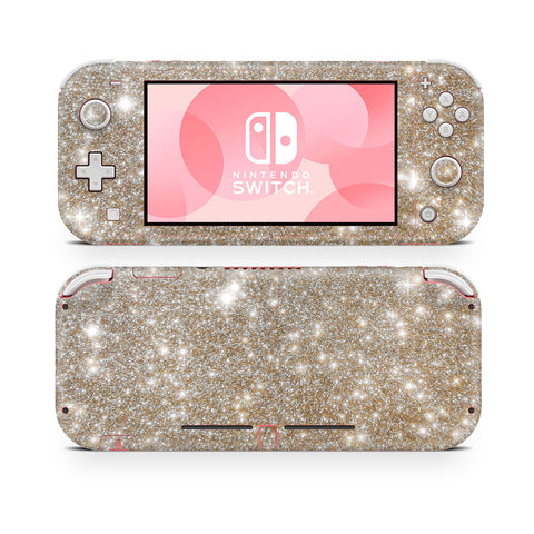 champagne gold glitter skin for nintendo switch lite
