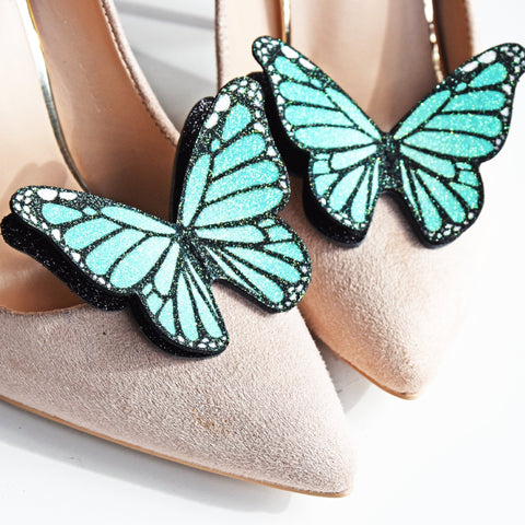 Green monarch butterfly shoe clip, wedding shoe accessories