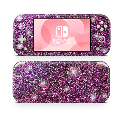 Lavender glitter skin for nintendo switch lite