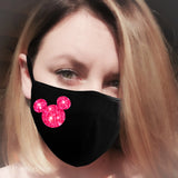 hot pink glitter minnie face mask