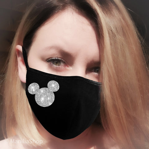 silver glitter drips, face mask, mickey mask