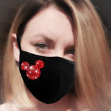 Red glitter minnie face mask, cotton face mask