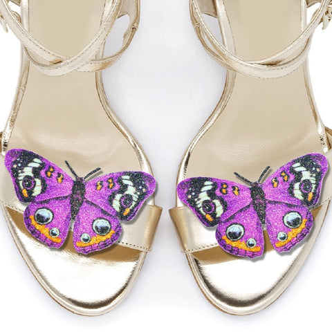 Purple Peacock Butterfly shoe clips, bridal shoe, bridesmaids shoe accessories