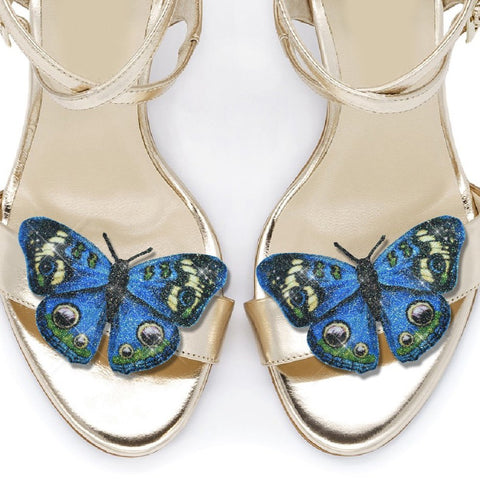 Blue Peacock Butterfly shoe clips, bridal shoe, bridesmaids shoe accessories