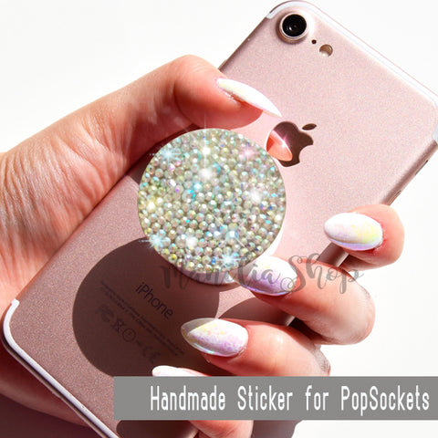 Rhinestone Holographic Opal Gemstone STICKER for PopSockets Crystal Unicorn iridescent sparkle for selfie holder phone grip