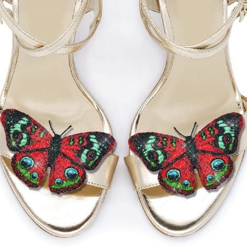 Red Peacock Butterfly shoe clips, bridal shoe, bridesmaids shoe accessories