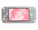 Glitter skin for nintendo switch lite, silver glitter stickers, nintendo wraps