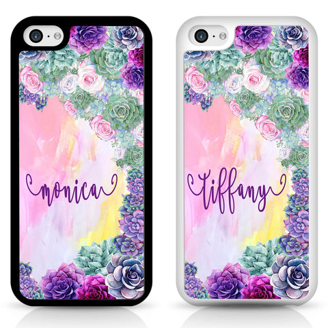 PERSONALISED succulent flower TPU Shockproof cover case for iPhone Samsung apple