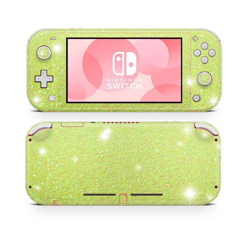 Nintendo Switch Lite wraps , sticker, decal neon yellow glitter