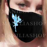Blue glitter cotton face mask, tinkerbel disneyland cotton face mask