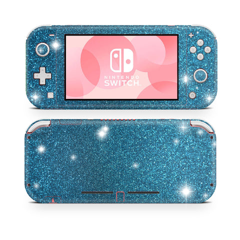 Aqua Blue glitter skin wrap sticker for Nintendo Switch Lite