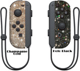 Glitter Skin for Nintendo switch Joy-Con, glitter skin wrap decal, animal crossing, Holo black, rose gold