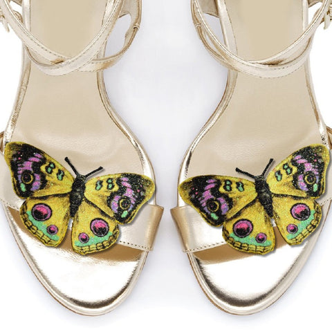Yellow Peacock Butterfly shoe clips, bridal shoe, bridesmaids shoe accessories
