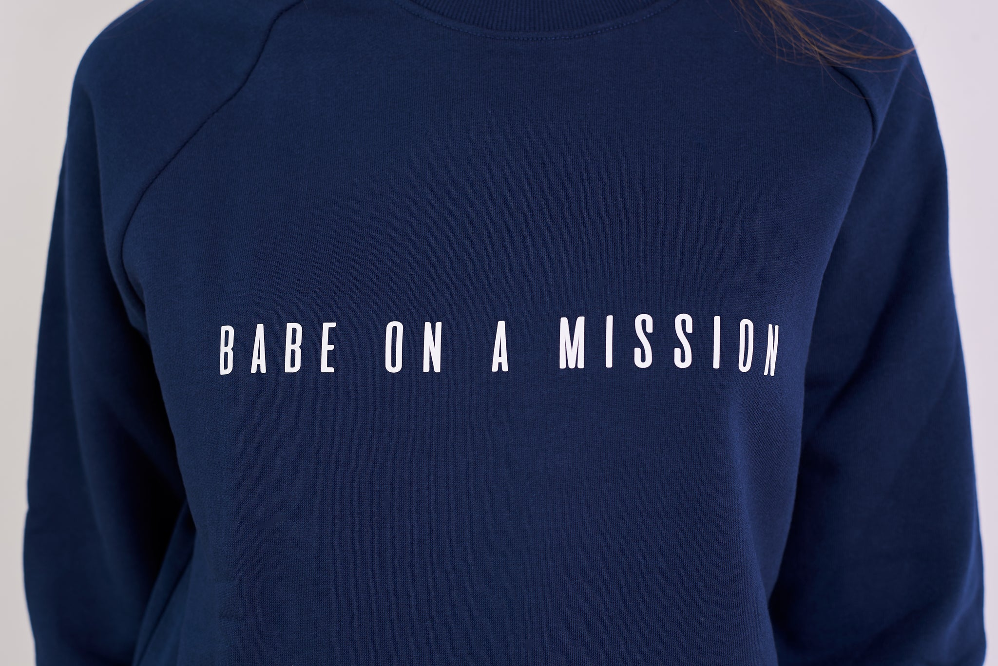 BABE ON A MISSION ORGANIC COTTON ECO-FRIENDLY JUMPER IN NAVY BLUE