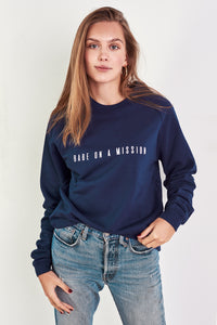 BABE ON A MISSION Jumper in Navy Blue