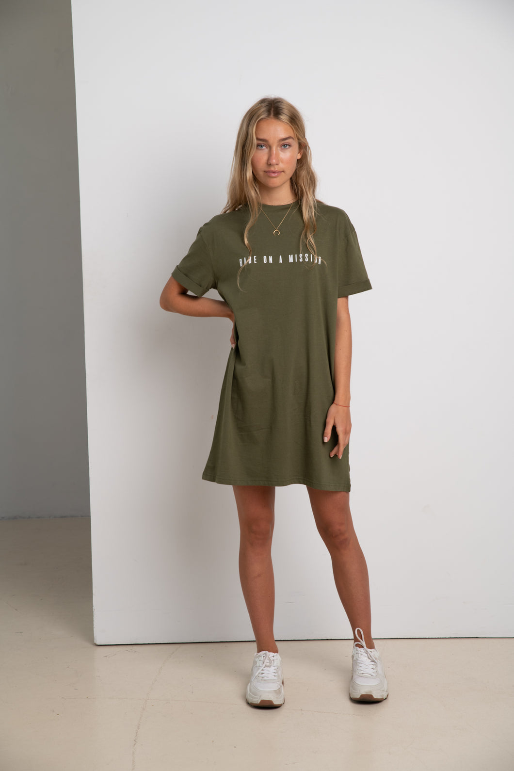 BABE ON A MISSION #ECOFRIENDLY dress in khaki